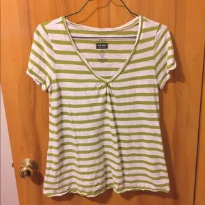 Old Navy Maternity Green White Striped Tee Sz Lg